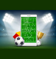 soccer field on smartphone screen vector image vector image