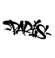 sprayed paris font graffiti with overspray in vector image