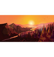 sunrise in beautiful mountains with river and vector image vector image