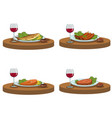 tasty food and red wine vector image vector image