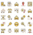 taxi colored icons set service vector image