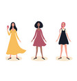 three young beautiful girls full length fashion vector image