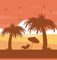 two palm trees chair umbrella silhouette on sunset vector image vector image