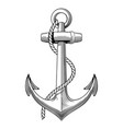 vintage hand drawn anchor nautical navy vector image