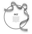 waving ribbon checkered race flag on circle frame vector image
