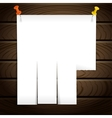 White note post pattern with pins on wooden wall vector image vector image