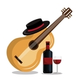 wine bottle with guitar isolated icon design vector image vector image