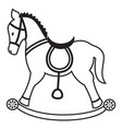 Rocking horse plain in black and white vector image