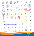 Handwritten alphabet letters and numbers vector image