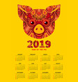 2019 year of the pig calendar vector image vector image