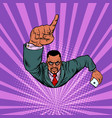 african businessman with a smartphone index finger vector image