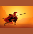 ancient greek warrior in ready to fight position vector image vector image