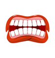 Angry mouth aggressive emotion Straseni grin White vector image vector image