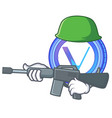 army vechain coin character cartoon vector image vector image