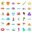 beach rest icons set cartoon style vector image