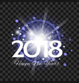beautiful blue fireworks with happy new year 2018 vector image vector image
