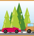 Car and truck over rood with forestal landscape vector image