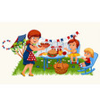 cartoon red-haired mother carrying plate with vector image