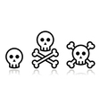 Cartoon skull with bones icon set vector image vector image
