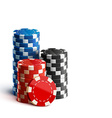 casino chips isolated on white realistic theme vector image vector image
