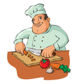 chef cutting vegetables vector image vector image