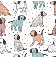 childish seamless pattern with dogs cute baby vector image vector image