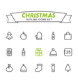 Christmas outline icons set vector image vector image