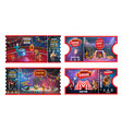 circus tickets with acrobats animals and magician vector image vector image