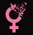 creative venus female sign with flying birds vector image