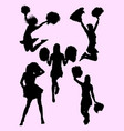 cute dancer cheerleader silhouette vector image