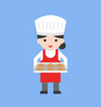 cute female pastry chef holding baking tray and vector image vector image