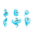 cute ghost cartoon character set funny halloween vector image vector image