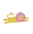 cute happy birthday card with funny lion happy vector image