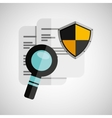 document search shield protection design vector image vector image