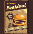 fast food retro emblem vector image vector image