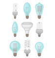 flat set of different types of light bulbs vector image