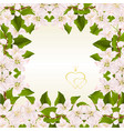 floral frame background with twig of apple tree vector image vector image