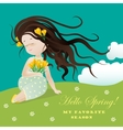 Girl with flower ssitting on grass vector image