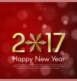 golden new year 2017 concept on red blurry vector image