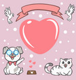 greeting card postcard with cute cartoon cat and vector image vector image
