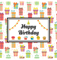 Happy Birthday greeting card with gift boxes and vector image