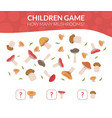 how many mushrooms educational counting game for vector image