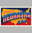 july 4th nebraska usa retro travel postcard vector image vector image