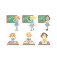 kid reading books set students studying at school vector image vector image