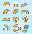 lgbt rainbow flag symbols different shapes icons vector image vector image