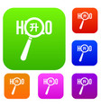 magnifying glass over hello word set collection vector image vector image