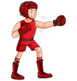 Man in red outfit doing boxing vector image vector image