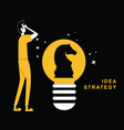 man thinking with an idea bulb vector image