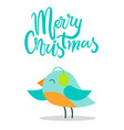 merry christmas bird with plumage warm earpieces vector image vector image