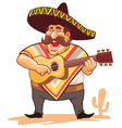 mexican with sombrero and guitar vector image